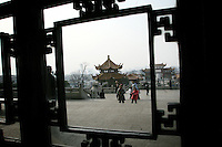 CHINA. Hubei Province. Wuhan. Inside the The Yellow Crane Tower which looks over the Yangtze and the city of Wuhan.Wuhan (population 4.3 million) is a sprawling city that sits on both sides of the Yangtze River.  2008.