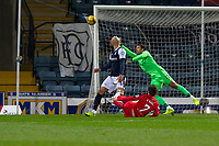 27th March 2021; Dens Park, Dundee, Scotland; Scottish Championship Football, Dundee FC versus Dunfermline; Kevin O'Hara of Dunfermline Athletic scores the opening goal to put his side 1-0 ahead in the 3rd minute