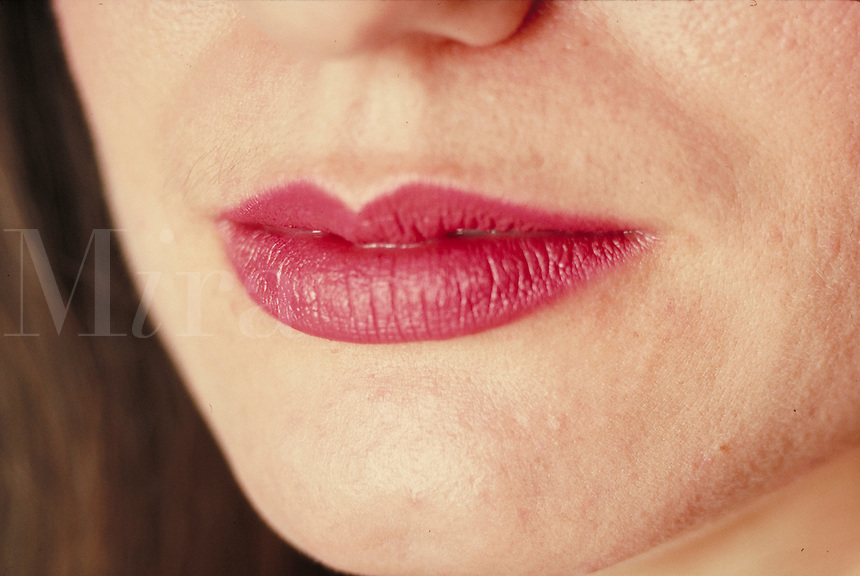 Woman's lips, close-up. Woman. Douglaston NY.