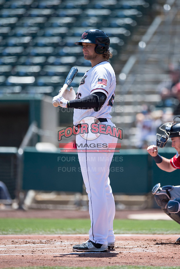 Sacramento RiverCats designated hitter Kyle Jensen (26) at bat during a Pacific Coast League against the Tacoma Rainiers at Raley Field on May 15, 2018 in Sacramento, California. Tacoma defeated Sacramento 8-5. (Zachary Lucy/Four Seam Images)