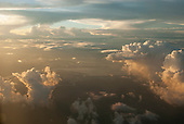 Amazon River, Para State, Brazil. Aerial view with rain clouds at dusk.