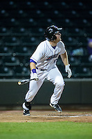 Mason Robbins (10) of the Winston-Salem Dash follows through on his swing against the Myrtle Beach Pelicans at BB&T Ballpark on May 2, 2016 in Winston-Salem, North Carolina.  The Pelicans defeated the Dash 3-2 in 11 innings.  (Brian Westerholt/Four Seam Images)