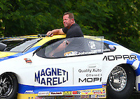 May 19, 2014; Commerce, GA, USA; NHRA pro stock driver Allen Johnson during the Southern Nationals at Atlanta Dragway. Mandatory Credit: Mark J. Rebilas-USA TODAY Sports