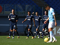 Football, Serie A: S.S. Lazio - Juventus Olympic stadium, Rome, November 8, 2020. <br /> Juventus' Cristiano Ronaldo (second right) celebrates after scoring with his teammates during the Italian Serie A football match between Lazio and Juventus at Olympic stadium in Rome, on November 8, 2020.<br /> UPDATE IMAGES PRESS/Isabella Bonotto