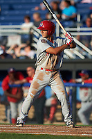 Auburn Doubledays second baseman Max Schrock (9) at bat during a game against the Batavia Muckdogs on July 10, 2015 at Dwyer Stadium in Batavia, New York.  Auburn defeated Batavia 13-1.  (Mike Janes/Four Seam Images)
