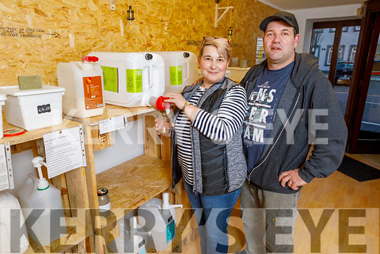 Daniela Kerekesova and her husband Csaba Bolla at their shop Green Life Refill in Boherbue Tralee on Thursday.