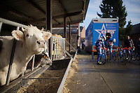 the reconnaissance of the 2016 Het Nieuwsblad parcours with Team Wanty-Groupe Gobert starts at the farm of Sports Director  Hilaire Van der Schueren (BEL/Wanty-Groupe Gobert)