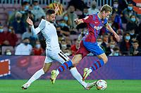 20th September 2021; Nou Camp, Barcelona, Spain; La Liga football league, FC Barcelona versus Granada CF;  Frenkie De Jong of FC Barcelona is intercepted during the Liga match between FC Barcelona and Granada CF .