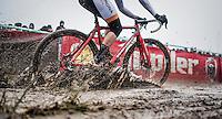 Braam Merlier (BEL/Steyaerts-Verona) splashing around <br /> <br /> elite men's race<br /> CX Superprestige Noordzeecross <br /> Middelkerke / Belgium 2017