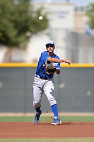 Kansas City Royals shortstop Kenny Diekroeger (48) during an Instructional League game against the Cleveland Indians on October 9, 2013 at Surprise Stadium Training Complex in Surprise, Arizona.  (Mike Janes/Four Seam Images)