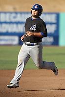 Miles Head #26 of the Stockton Ports runs the bases against the High Desert Mavericks at Stater Bros. Stadium on May 27, 2012 in Adelanto,California. High Desert defeated Stockton 6-5.(Larry Goren/Four Seam Images)