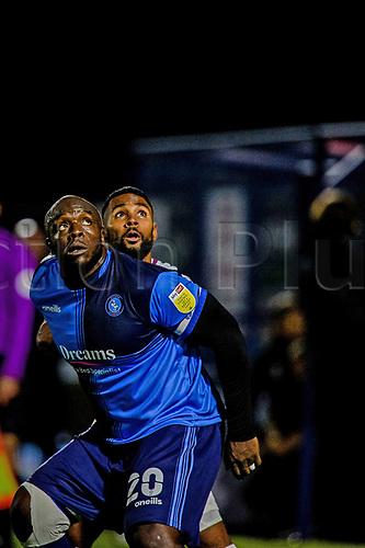 21st November 2020; Adams Park Stadium, Wycombe, Buckinghamshire, England; English Football League Championship Football, Wycombe Wanderers versus Brentford; Adebayo Akinfenwa competes for a header.