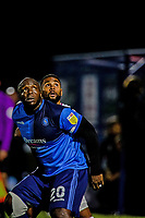 21st November 2020; Adams Park Stadium, Wycombe, Buckinghamshire, England; English Football League Championship Football, Wycombe Wanderers versus Brentford; Adebayo Akinfenwa competes for a header.