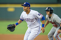 Round Rock Express first baseman Carlos Pena (33) on defense during the Pacific Coast League baseball game against the Fresno Grizzlies on June 22, 2014 at the Dell Diamond in Round Rock, Texas. The Express defeated the Grizzlies 2-1. (Andrew Woolley/Four Seam Images)