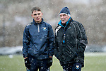 St Johnstone Training…22.01.19   McDiarmid Park<br />Jason Kerr and manager Tommy Wright pictured during a snowy training session this morning ahead of tomorrw night's game against Livingston.<br />Picture by Graeme Hart.<br />Copyright Perthshire Picture Agency<br />Tel: 01738 623350  Mobile: 07990 594431