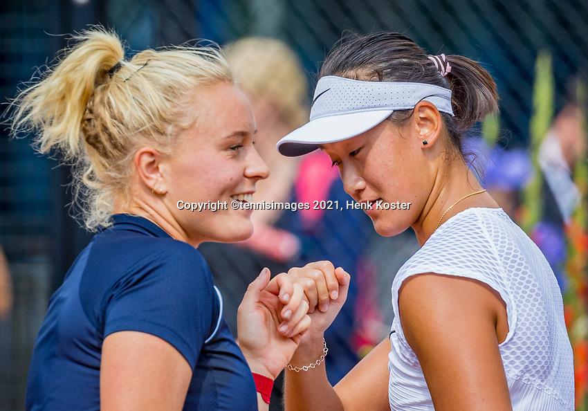 Amstelveen, Netherlands, 7 Juli, 2021, National Tennis Center, NTC, Amstelveen Womans Open, Doubles: Lexie Stevens (NED) and Xiyu Wang (CHN) (R)<br /> Photo: Henk Koster/tennisimages.com