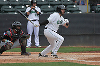 Clinton LumberKings first baseman Nick Zammarelli (34) swings during a game against the Lansing Lugnuts at Ashford University Field on May 9, 2017 in Clinton, Iowa.  The Lugnuts won 11-6.  (Dennis Hubbard/Four Seam Images)