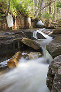 A small cascade on Black Brook in Carroll, New Hampshire during the spring months.