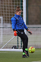 goalkeeper Femke Schamp (1) of Club Brugge in action during the warm up before a female soccer game between Oud Heverlee Leuven and Club Brugge YLA on the 18 th and last matchday before the play offs of the 2020 - 2021 season of Belgian Womens Super League , saturday 27 th of March 2021  in Heverlee , Belgium . PHOTO SPORTPIX.BE | SPP | SEVIL OKTEM