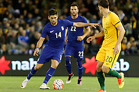 June 7, 2016: ANASTASIOS BAKASETAS (14) of Greece controls the ball during an international friendly match between the Australian Socceroos and Greece at Etihad Stadium, Melbourne. Photo Sydney Low