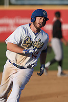 Joey Curletta (44) of the Rancho Cucamonga Quakes runs the bases during a game against the Bakersfield Blaze at LoanMart Field on June 1, 2015 in Rancho Cucamonga, California. Rancho Cucamonga defeated Bakersfield, 5-2. (Larry Goren/Four Seam Images)