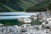 Jade green Lake Mackenzie on Routeburn Track, Fiordland National Park, Southland, South Island, World Heritage Area, New Zealand