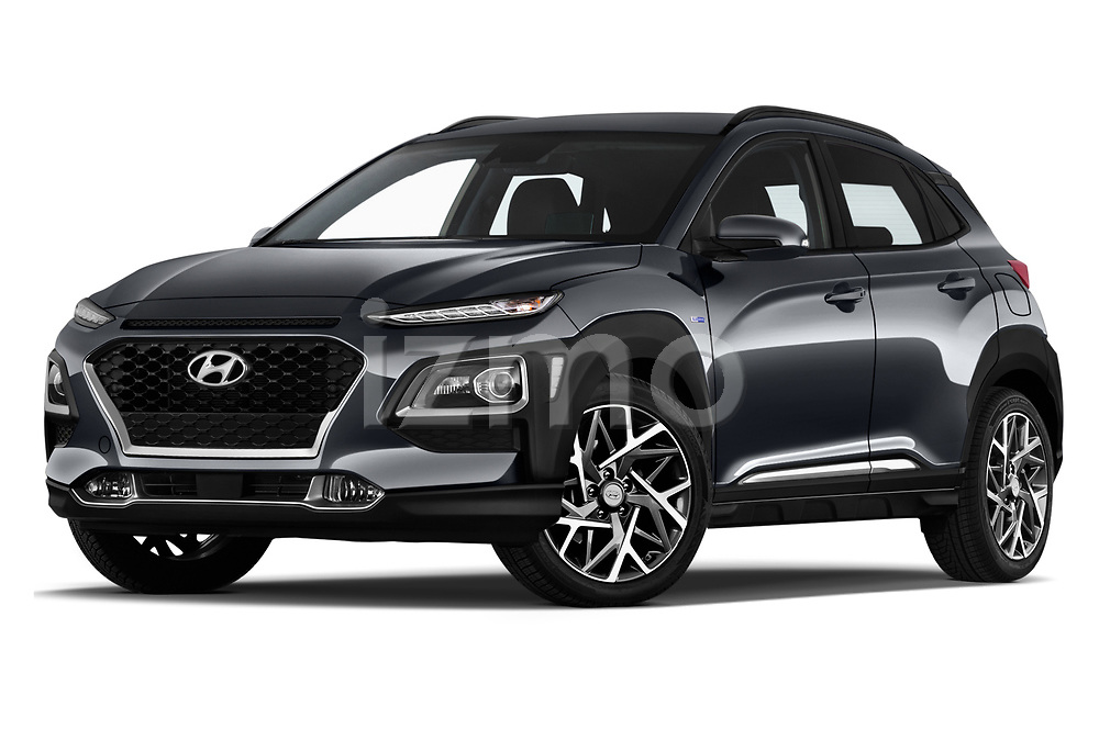 Stock pictures of low aggressive front three quarter view of a 2020 Hyundai Kona Hybrid Sky 5 Door SUV
