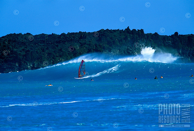 Windsurfing on a beautiful blue wave at La Perouse Bay on Maui.