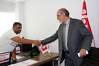 Hamadi Jebali (C) Tunisian politician and former prime minister is pictured after submitting his candidacy for the upcoming early presidential elections, in the capital Tunis on August 6, 2019. - Presidential hopefuls in Tunisia began registering their candidacies on August 2 for snap September polls called after the death of 92-year-old leader Beji Caid Essebsi. <br /> <br /> PHOTO : Agence Quebec Presse - jdidi.wassim