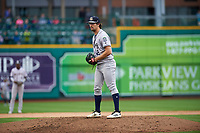 Kane County Cougars starting pitcher Jackson Goddard (12) during a Midwest League game against the Fort Wayne TinCaps at Parkview Field on May 1, 2019 in Fort Wayne, Indiana. Fort Wayne defeated Kane County 10-4. (Zachary Lucy/Four Seam Images)