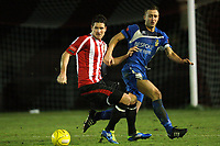Frankie Curley of Hornchurch tangles with Spencer Harrison of Aveley - AFC Hornchurch vs Aveley - Ryman League Premier Division Football at The Stadium - 17/12/11 - MANDATORY CREDIT: Gavin Ellis/TGSPHOTO - Self billing applies where appropriate - 0845 094 6026 - contact@tgsphoto.co.uk - NO UNPAID USE