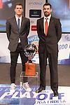 Nemanja Nedovic and Rafa Martinez during presentation of the Liga Endesa playoff. May 23,2016. (ALTERPHOTOS/Rodrigo Jimenez)