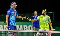 Rotterdam, The Netherlands, 28 Februari 2021, ABNAMRO World Tennis Tournament, Ahoy, Qualyfying doubles match:  Divij Sharan (IND) (R) and Igor Zelenay (SVK)<br /> Photo: www.tennisimages.com/henkkoster