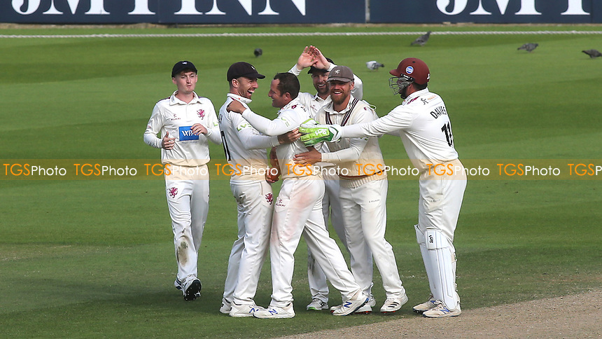 Somerset bowler, Roelof Van Der Merwe celebrates taking the wicket of Surrey batsman, Jordan Clark, with Jack Leach during Surrey CCC vs Somerset CCC, LV Insurance County Championship Group 2 Cricket at the Kia Oval on 13th July 2021