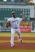 Daytona Tortugas pitcher Amir Garrett (23) in action during a game against the Clearwater Threshers at Radiology Associates Field at Jackie Robinson Ballpark on May 9, 2015 in Daytona, Florida. Clearwater defeated Daytona 7-0. (Robert Gurganus/Four Seam Images)
