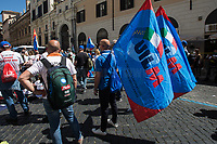 Rome, Italy. 27th May, 2021. Today, Whirlpool workers, mainly from the South of Italy city of Naples, held a demonstration in Piazza Santi Apostoli in Rome to protest against the decision of the US multinational – manufacturer and marketer of home appliances – to close its Naples factory. Moreover, workers and their Trade Union representatives called the Italian Government, led by Prime Minister Mario Draghi, the Parliament, and all the political parties to protect jobs and workers and to make the company respecting the agreements previously made with other Italian Governments (Vertenza Whirlpool).