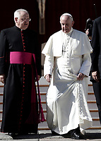 Pope Francis and Monsignor Leonardo Sapienza (i) leave at the end of an audience to the Vincentian family on the 400th centenary of the Vincentian Charism in St. Peter's Square at the Vatican, on October 14, 2017.<br /> UPDATE IMAGES PRESS/Isabella Bonotto<br /> <br /> STRICTLY ONLY FOR EDITORIAL USE