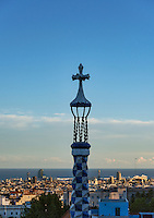 Cross tower in Park Guell overlloking the city, Barcelona, Spain