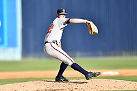 Rome Braves starting pitcher Joey Wentz (22) delivers a pitch during a game against the Asheville Tourists at McCormick Field on June 24, 2017 in Asheville, North Carolina. The Tourists defeated the Braves 6-5. (Tony Farlow/Four Seam Images)