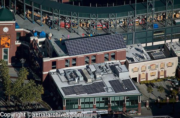 aerial photograph of solar panels at Giants stadium AT&T park, San Francisco