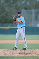 Tampa Bay Rays relief pitcher Joe Serrapica (47) gets ready to deliver a pitch during an Instructional League game against the Pittsburgh Pirates on October 3, 2017 at Pirate City in Bradenton, Florida.  (Mike Janes/Four Seam Images)