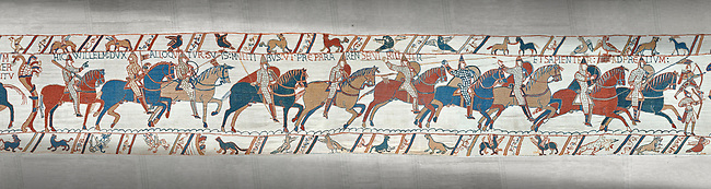 Bayeux Tapestry scene 51a : Duke William talks to his soldiers ordering them into battle.
