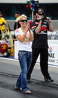 Sept. 18, 2011; Concord, NC, USA: NHRA pro stock motorcycle rider Angie Smith during the O'Reilly Auto Parts Nationals at zMax Dragway. Mandatory Credit: Mark J. Rebilas-