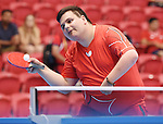 Toronto, ON - Aug 9 2015 -  Mike Drozdowski competes in the Men's Singles Class 11 Group A Match 5 in the ATOS Markham Parapan Centre during the Toronto 2015 Parapan American Games  (Photo: Matthew Murnaghan/Canadian Paralympic Committee)