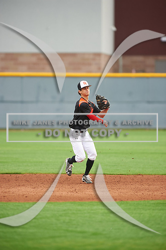 Alex Warren (1) of St. Johns College High School in Bethesda, Maryland during the Under Armour All-American Pre-Season Tournament presented by Baseball Factory on January 15, 2017 at Sloan Park in Mesa, Arizona.  (Zac Lucy/Mike Janes Photography)