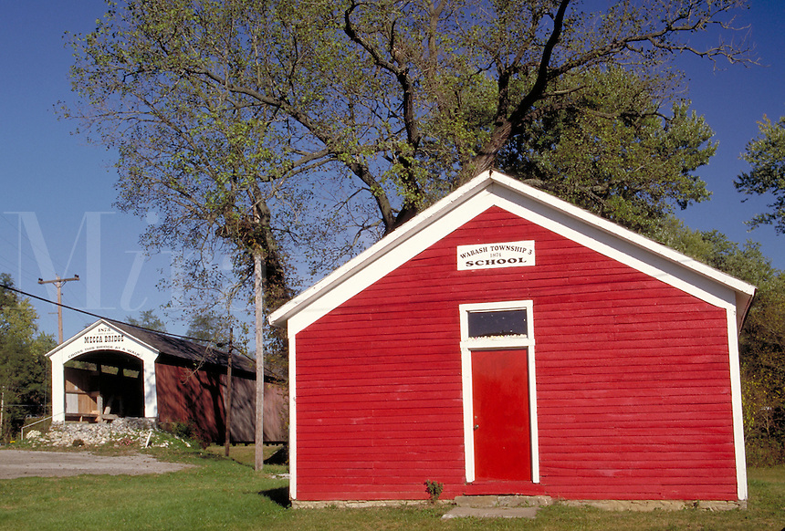 Wabash Township 3 one-room school (built 1874) and Mecca Coverd Bridge (built 1873) over Big Raccoon Creek, Parke County, near Mecca, Indiana. Mecca Indiana, Parke County.