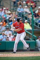 Rochester Red Wings catcher Anthony Recker (30) bats during a game against the Columbus Clippers on August 9, 2017 at Frontier Field in Rochester, New York.  Rochester defeated Columbus 12-3.  (Mike Janes/Four Seam Images)