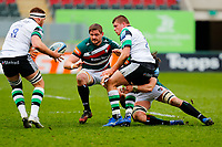 28th March 2021; Mattoli Woods Welford Road Stadium, Leicester, Midlands, England; Premiership Rugby, Leicester Tigers versus Newcastle Falcons; Jamie Blamire offloads to team-mate Callum Chick of Newcastle Falcons