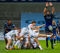 21st August 2020; AJ Bell Stadium, Salford, Lancashire, England; English Premiership Rugby, Sale Sharks versus Exeter Chiefs; Lood de Jager of Sale Sharks attempts to block a kick by Jack Maunder of Exeter Chiefs