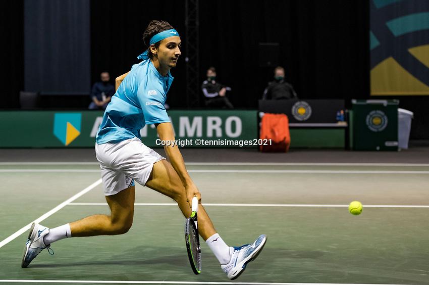 Rotterdam, The Netherlands, 3 march  2021, ABNAMRO World Tennis Tournament, Ahoy, First round match: Lorenzo Sonego (ITA).<br /> Photo: www.tennisimages.com/